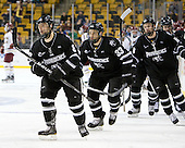 Barrett Kaib (PC - 8), Andy Balysky (PC - 33) and Derek Army (PC - 19) celebrate Kaib's goal. - The Boston College Eagles defeated the Providence College Friars 4-2 in their Hockey East semi-final on Friday, March 16, 2012, at TD Garden in Boston, Massachusetts.