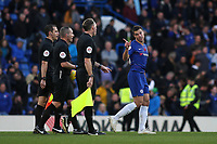 Chelsea's Cesar Azpilicueta has words with referee, Kevin Friend, as the two teams leave the field at half-time during Chelsea vs Everton, Premier League Football at Stamford Bridge on 11th November 2018