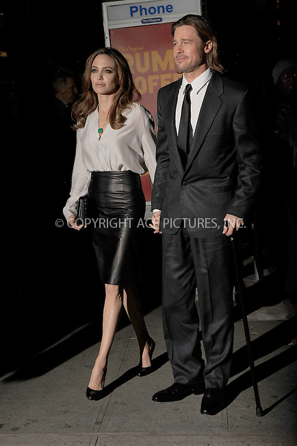 WWW.ACEPIXS.COM . . . . . .January 9, 2012...New York City....Angelina Jolie and Brad Pitt attend the 2011 New York Film Critics Circle awards at Crimson on January 9, 2012 in New York City.....Please byline: KRISTIN CALLAHAN - ACEPIXS.COM.. . . . . . ..Ace Pictures, Inc: ..tel: (212) 243 8787 or (646) 769 0430..e-mail: info@acepixs.com..web: http://www.acepixs.com .