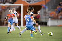 Houston, TX - Saturday July 16, 2016: Ellie Brush, Nadia Nadim during a regular season National Women's Soccer League (NWSL) match between the Houston Dash and the Portland Thorns FC at BBVA Compass Stadium.