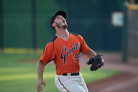AZL Giants Orange first baseman Tyler Wyatt (83) pursues a pop fly in foul territory during an Arizona League game against the AZL Mariners on July 18, 2019 at the Giants Baseball Complex in Scottsdale, Arizona. The AZL Giants Orange defeated the AZL Mariners 7-4. (Zachary Lucy/Four Seam Images)