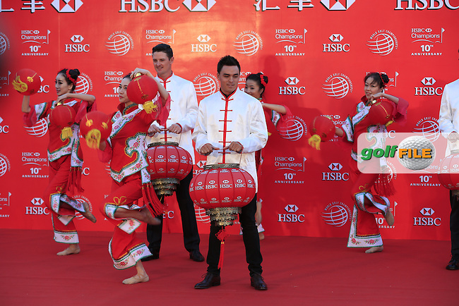 Justin Rose, Bubba Watson, Martin Kaymer, Adam Scott and Rickie Fowler take part in a Chinese lantern ceremony in front of the Shanghai skyline on the rooftop of the Peninsula Hotel on the Bund after Tuesday's Practice day of the WGC - HSBC Champions 2014 held at Sheshan International Golf Club, Shanghai, China. 4th November 2014.<br /> Picture: Eoin Clarke www.golffile.ie