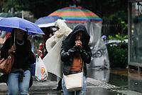 SÃO PAULO, SP, 24.01.2020: CLIMA-CHUVA-AV-PAULISTA-SP - Pedestres se protegem da chuva na avenida Paulista, região central de São paulo, nesta manhã de sexta-feira, 24. O dia começou com céu encoberto, formação de neblina, chuvas leves, garoa e termômetros oscilando em torno dos 17,3ºC. De acordo com as estações meteorológicas do CGE da Prefeitura de São Paulo as temperaturas mais baixas foram 15,6ºC em Parelheiros e 16ºC na Capela do Socorro. (Foto: Fábio Vieira/FotoRua)