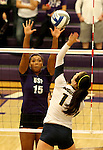 SIOUX FALLS, SD - SEPTEMBER 19:  Bria Barfnecht #15 from the University of Sioux Falls looks for a block against Dani Magdzas #11 from Augustana during their match Saturday afternoon at the Stewart Center. (Photo by Dave Eggen/Inertia)