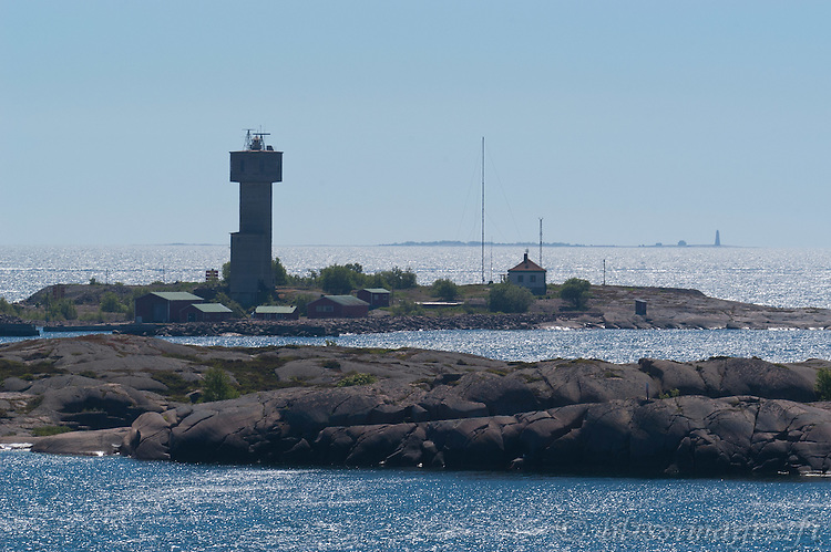 Lågskär Lighthouse in the distance as seen from Nyhamn Lighthouse in the foreground -Åland Islands