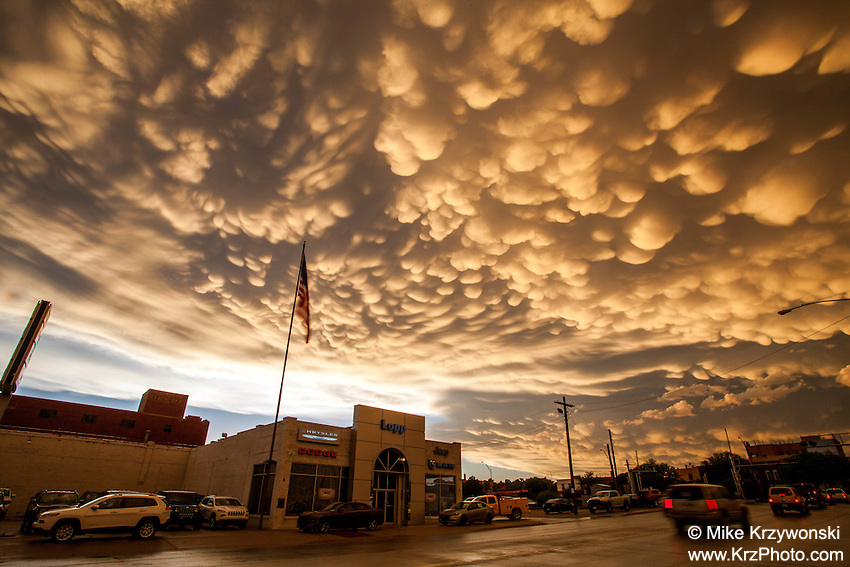 Golden Mammatus Clouds at Sunset in Dodge City, KS, May 24, 2016