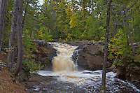Upper Falls on the Amnicon River in Amnicon Falls State Park located in Douglas County Wisconsin south of Superior.
