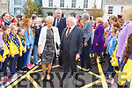 President Higgins and Julie Gleeson, chairperson of Listowel Tidy Towns Committee  entering the ceremony in St John's Listowel on Saturday morning