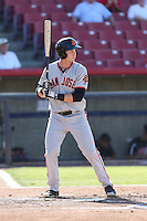 Austin Slater (10) of the San Jose Giants bats during a game against the High Desert Mavericks at Mavericks Stadium on June 14, 2015 in Adelanto, California. High Desert defeated San Jose, 7-5. (Larry Goren/Four Seam Images)
