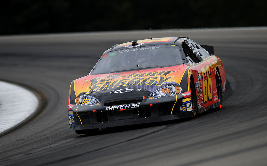 Aug. 8, 2009; Watkins Glen, NY, USA; NASCAR Nationwide Series driver Steve Wallace during the Zippo 200 at Watkins Glen International. Mandatory Credit: Mark J. Rebilas-