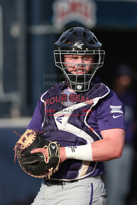 Evan Skoug (9) of the TCU Horned Frogs before a game against the Loyola Marymount Lions at Page Stadium on March 16, 2015 in Los Angeles, California. TCU defeated Loyola, 6-2. (Larry Goren/Four Seam Images)
