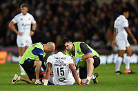 Anthony Watson of Bath Rugby is treated for an injury. Aviva Premiership match, between Northampton Saints and Bath Rugby on September 15, 2017 at Franklin's Gardens in Northampton, England. Photo by: Patrick Khachfe / Onside Images