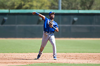 Kansas City Royals third baseman Jose Marquez (6) throws to first base during an Instructional League game against the Chicago White Sox at Camelback Ranch on September 25, 2018 in Glendale, Arizona. (Zachary Lucy/Four Seam Images)