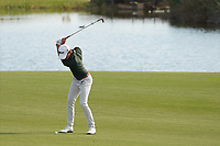 Joakim Lagergren (SWE) on the 18th during Round 4 of the Portugal Masters, Dom Pedro Victoria Golf Course, Vilamoura, Vilamoura, Portugal. 27/10/2019<br /> Picture Andy Crook / Golffile.ie<br /> <br /> All photo usage must carry mandatory copyright credit (© Golffile | Andy Crook)