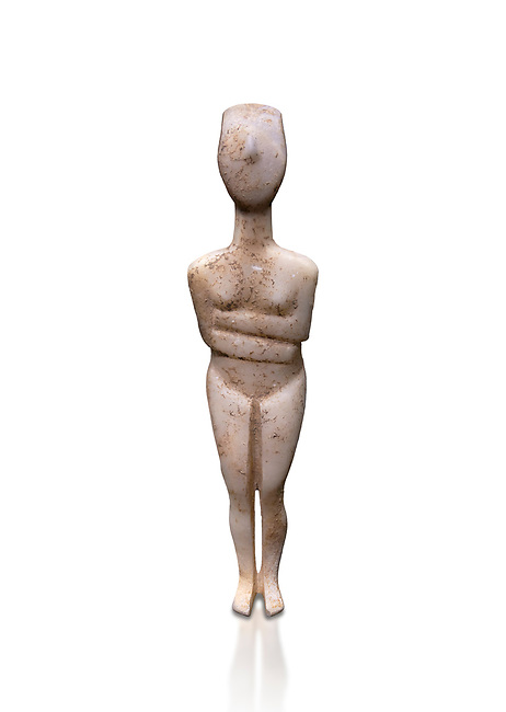 Female figurine statuette : Cycladic Canonical type, Kapsala variety. Early Cycladic Period II, (2800-2300 BC), ' Museum of Cycladic Art Athens. Against white.