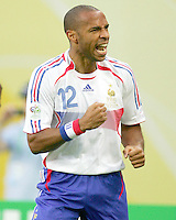 Theirry Henry reacts to scoring France's lone goal. The Korea Republic and France played to a 1-1 tie in their FIFA World Cup Group G match at the Zentralstadion, Leipzig, Germany, June 18, 2006.