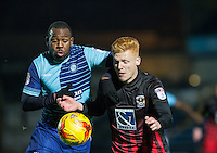 Myles Weston of Wycombe Wanderers & Ryan Haynes of Coventry City during the The Checkatrade Trophy Southern Group D match between Wycombe Wanderers and Coventry City at Adams Park, High Wycombe, England on 9 November 2016. Photo by Andy Rowland.