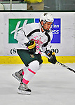 28 January 2012: University of Vermont Catamount forward Brett Leonard, a Senior from South Burlington, VT, brings the play across the blue line against the Northeastern University Huskies at Gutterson Fieldhouse in Burlington, Vermont. The Catamounts, dressed in their Breast Cancer Awareness jerseys, fell to the Huskies 4-2 in the second game of their 2-game Hockey East weekend series. Mandatory Credit: Ed Wolfstein Photo