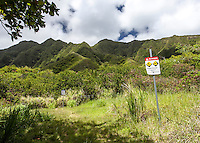 Sacred Falls Trail Warning Sign, Hau'ula, O'ahu