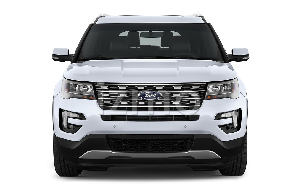 Car photography straight front view of a 2016 Ford Explorer Limited 5 Door SUV Front View