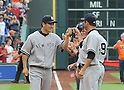 (L-R) Masahiro Tanaka, Hiroki Kuroda (Yankees),<br /> APRIL 1, 2014 - MLB :<br /> Masahiro Tanaka of the New York Yankees gets a fist-bump from his teammate Hiroki Kuroda during introductions before the baseball game against the Houston Astros at Minute Maid Park in Houston, Texas, United States. (Photo by AFLO)