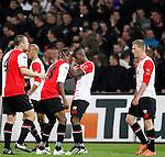 Nederland, Rotterdam, 31 maart 2012.Eredivisie.Seizoen 2011-2012.Feyenoord-NAC Breda.Ruben Schaken van Feyenoord viert een feestje nadat hij de 2-1 heeft gescoord. (V.l.n.r.) Ron Vlaar, Sekou Cisse, Ruben Schaken en John Guidetti van Feyenoord