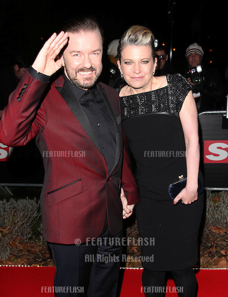 Ricky Gervais and wife Jane arriving for The Sun Military Awards, at The Imperial War Museum, London. 06/12/2012 Picture by: Alexandra Glen / Featureflash