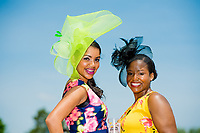 BALTIMORE, MD - MAY 19: Women pose for a photo on Black-Eyed Susan Day at Pimlico Race Course on May 19, 2017 in Baltimore, Maryland.(Photo by Douglas DeFelice/Eclipse Sportswire/Getty Images)