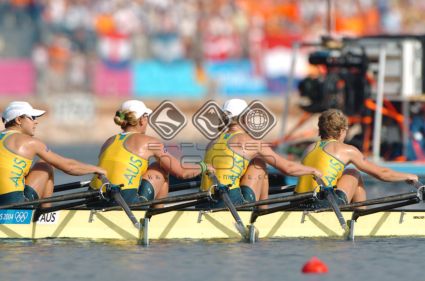 Amber Bradley, Kerry Hore, Rebecca Sattin, &amp; Dana Faletic (AUS)<br /> Rowing - Women's Quad Sculls<br /> Summer Olympics - Athens Greece 2004<br /> Day 09, 22nd August 2004.<br /> &copy; Sport the library/Jeff Crow