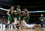 SIOUX FALLS, SD - MARCH 7:  North Dakota State players Dexter Werner #40, Carlin Dupree #3 and Khy Kabellis #13 and Joe Reed #44 of Fort Wayne scramble for a loose ball in the 2016 Summit League Tournament.     (Photo by Dave Eggen/Inertia)