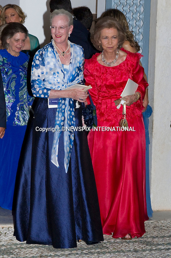 """Queen Margarete and Queen Sofia_.The Wedding of Prince Nikolaos and Tatiana Blatnik attended by many members of European Royalty at St Nikolaos Church on the Island of Spetses_Grecce_24/08/2010.Mandatory Credit Photo: ©DIAS-NEWSPIX INTERNATIONAL..**ALL FEES PAYABLE TO: """"NEWSPIX INTERNATIONAL""""**..IMMEDIATE CONFIRMATION OF USAGE REQUIRED:.Newspix International, 31 Chinnery Hill, Bishop's Stortford, ENGLAND CM23 3PS.Tel:+441279 324672  ; Fax: +441279656877.Mobile:  07775681153.e-mail: info@newspixinternational.co.uk"""