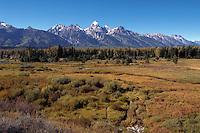 Autumn scenic of the Teton Mountain Range. Grand Teton National Park, Wyoming.