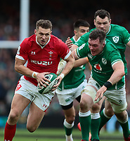 8th February 2020; Aviva Stadium, Dublin, Leinster, Ireland; International Six Nations Rugby, Ireland versus Wales; Dan Biggar (Wales) attempts to get through the cover of Peter O'Mahony (Ireland)