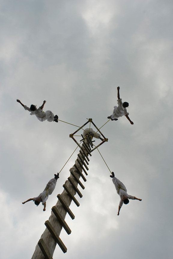 "Children learning to become ""Voladores"" in the Tajin cultural park. Tajin, Veracruz. Mexico. April 5, 2008"