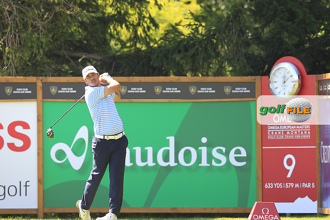 Brooks KOEPKA (USA) tees off the 9th tee during Saturday's Round 3 of the 2014 Omega European Masters held at the Crans Montana Golf Club, Crans-sur-Sierre, Switzerland.: Picture Eoin Clarke, www.golffile.ie: 6th September 2014