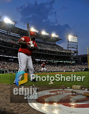 21 June 2008: Washington Nationals' first baseman Dmitri Young stands in the on-deck circle as Lastings Milledge is at bat against the Texas Rangers at Nationals Park in Washington, DC. The Rangers defeated the Nationals 13-3 in the second game of their 3-game inter-league series...Mandatory Photo Credit: Ed Wolfstein Photo