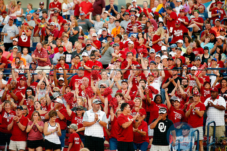 07 JUNE 2016:  Oklahoma fans cheer during the Division I Women's Softball Championship is held at ASA Hall of Fame Stadium in Oklahoma City, OK.  Shane Bevel/NCAA Photos