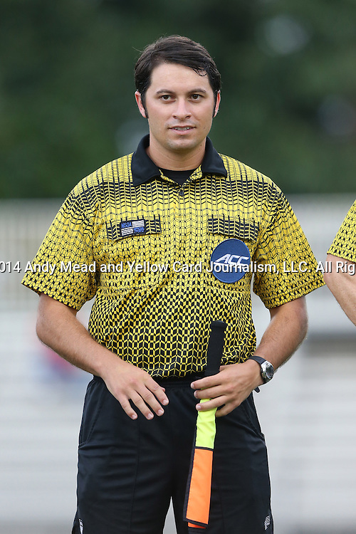 19 August 2014: Assistant referee Ben Meyer. The Duke University Blue Devils hosted the Radford University Highlanders at Koskinen Stadium in Durham, NC in a 2014 NCAA Division I Men's Soccer preseason match.