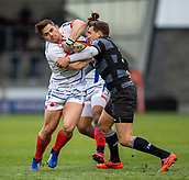 3rd February 2019, AJ Bell Stadium, Salford, England; Premiership Rugby Cup, Sale Sharks versus Newcastle Falcons; Rohan Janse van Rensburg of Sale Sharks is tackled by Toby Flood of Newcastle Falcons