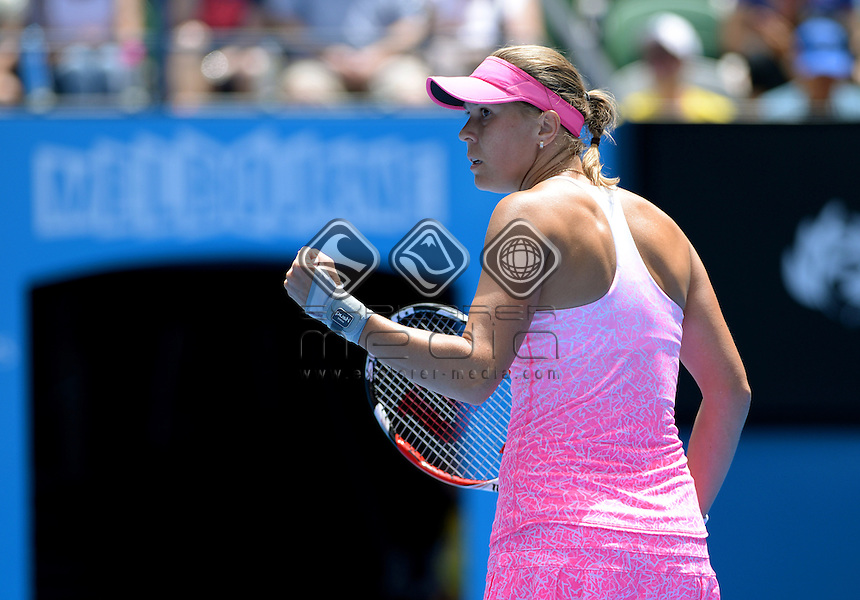 Lucie Hradecka (CZE) takes out No.5 seed Ana Ivanovic (SRB) in the 1st round of play<br /> 2015 Australian Open Tennis <br /> Grand Slam of Asia Pacific<br /> Melbourne Park, Vic Australia<br /> Monday 19 January 2015<br /> &copy; Sport the library / Jeff Crow