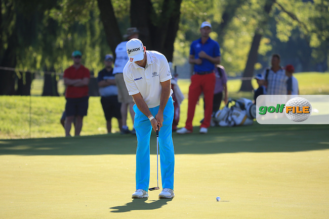 Jaco Van Zyl (RSA) putting for par on 17th during the completion of Round Two of the 2016 BMW SA Open hosted by City of Ekurhuleni, played at the Glendower Golf Club, Gauteng, Johannesburg, South Africa.  09/01/2016. Picture: Golffile | David Lloyd<br /> <br /> All photos usage must carry mandatory copyright credit (&copy; Golffile | David Lloyd)
