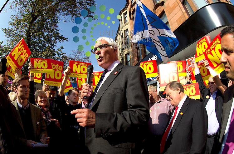 Alistair Darling with John Prescott on referendum campaign. The Labour veteran was joined by Alistair Darling and Anas Sarwar all making stump speeches and campaign call's with local Labour activists.<br /> Picture: Universal News And Sport (Scotland) 10 September 2014.