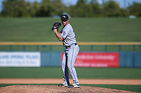 Peoria Javelinas relief pitcher TJ Weir (33), of the San Diego Padres organization, prepares to deliver a pitch to the plate during an Arizona Fall League game against the Mesa Solar Sox on October 25, 2017 at Sloan Park in Mesa, Arizona. The Solar Sox defeated the Javelinas 6-3. (Zachary Lucy/Four Seam Images)