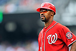 24 September 2011: Washington Nationals third base coach Bo Porter walks to his position during a game against the Atlanta Braves at Nationals Park in Washington, DC. The Nationals defeated the Braves 4-1 to even up their 3-game series. Mandatory Credit: Ed Wolfstein Photo