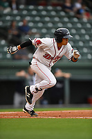 Catcher Isaias Lucena (19) of Greenville Drive runs toward first in a game against the Asheville Tourists on Wednesday, May 3, 2017, at Fluor Field at the West End in Greenville, South Carolina. Greenville won, 8-0. (Tom Priddy/Four Seam Images)