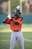 AZL Giants Orange center fielder Patrick Hilson (17) takes a few practice swings before an Arizona League game against the AZL Athletics at Lew Wolff Training Complex on June 25, 2018 in Mesa, Arizona. AZL Giants Orange defeated the AZL Athletics 7-5. (Zachary Lucy/Four Seam Images)