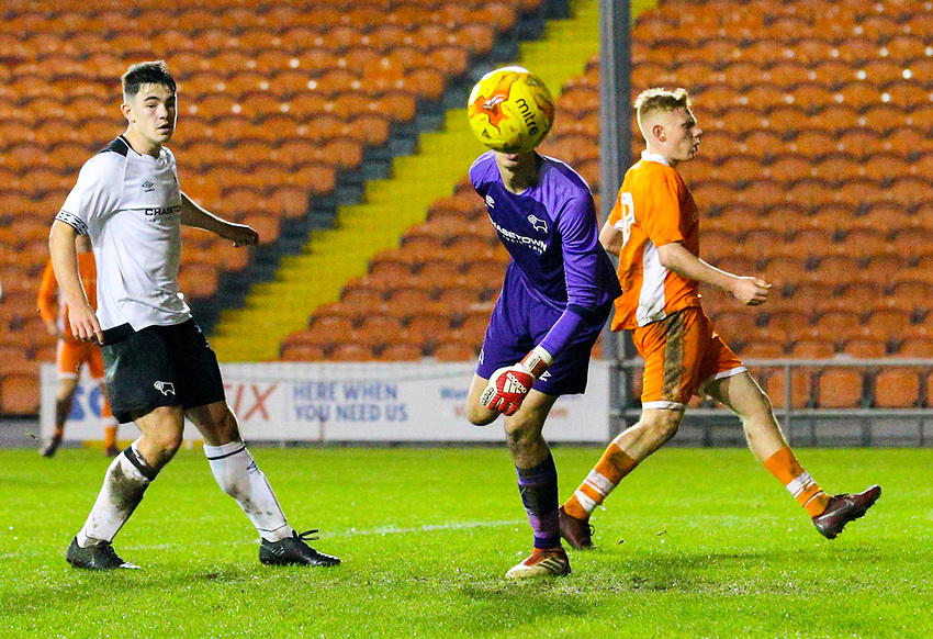 Derby County's Bradley Foster-Theniger makes a save<br /> <br /> Photographer Alex Dodd/CameraSport<br /> <br /> The FA Youth Cup Third Round - Blackpool U18 v Derby County U18 - Tuesday 4th December 2018 - Bloomfield Road - Blackpool<br />  <br /> World Copyright © 2018 CameraSport. All rights reserved. 43 Linden Ave. Countesthorpe. Leicester. England. LE8 5PG - Tel: +44 (0) 116 277 4147 - admin@camerasport.com - www.camerasport.com