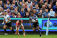 Semesa Rokoduguni of Bath Rugby in possession. Gallagher Premiership match, between Bath Rugby and Gloucester Rugby on September 8, 2018 at the Recreation Ground in Bath, England. Photo by: Patrick Khachfe / Onside Images