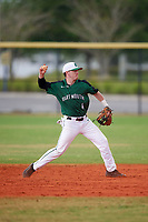 Dartmouth Big Green second baseman Sean Sullivan (4) throws to first base during a game against the Southern Maine Huskies on March 23, 2017 at Lake Myrtle Park in Auburndale, Florida.  Dartmouth defeated Southern Maine 9-1.  (Mike Janes/Four Seam Images)