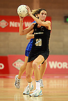 07.08.2010 Silver Ferns Anna Scarlett in action during the Silver Ferns v Samoa netball test match played at Te Rauparaha Arena in Porirua  Wellington. Mandatory Photo Credit ©Michael Bradley.